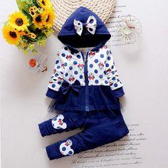 276533f91 New Arrival 2016 Baby Girls Minnie Suits Korean Cotton Lace Lods Coat+Pants  Infant/Newborn Clothes Suits Casual Children Sets