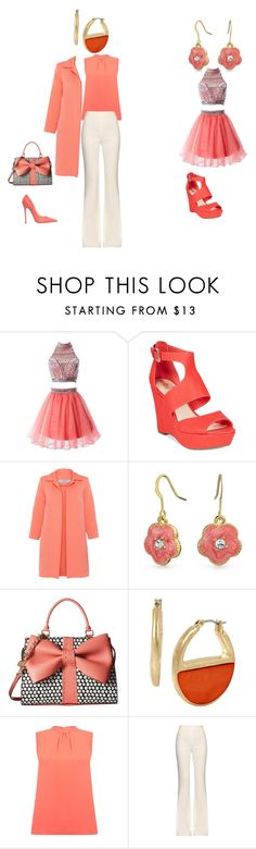 """""""Lovely Coral"""" by fashion4life1324 on Polyvore featuring R&J, Bar III, D.Exterior, Bling Jewelry, Betsey Johnson, Kenneth Cole, Warehouse, Giambattista Valli, Jimmy Choo and beautiful"""