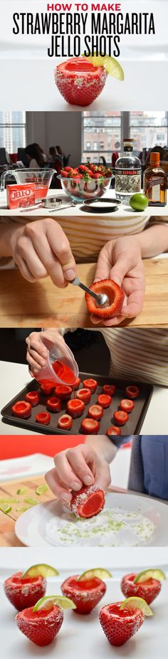 Minus the Margarita the jello in the strawberries will make a cool snake for hot summer days