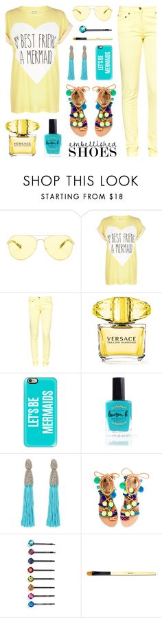 Embellished Shoes - Mermaid Style by lgb321 on Polyvore featuring moda, River Island, Great Plains, Elina Linardaki, Oscar de la Renta, Michael Kors, Casetify, Cara, Bobbi Brown Cosmetics and Versace