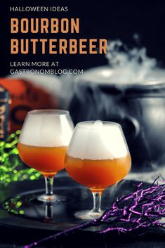 Harry Potter fans will love this Alcoholic Butterbeer Recipe with Bourbon, buttered brown sugar syrup, cider and ginger beer in a crisp butterbeer cocktail Bourbon Whiskey, Whisky, Bourbon Drinks, Whiskey Cocktails, Scotch Whiskey, Irish Whiskey, Easy Whiskey Drinks, Alcoholic Cocktails, Easy Drink Recipes