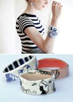 Porcelain jewelry by Golden Ink.