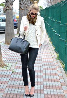 How To Wear White In Winter- cream blazer, leopard scarf