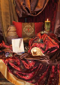 One of the most gorgeous uses of fabric I have seen on an altar!  From the Iowa Red Tent for women.