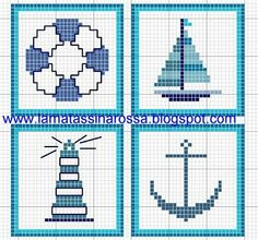 Free nautical cross stitch patterns. Not in English.