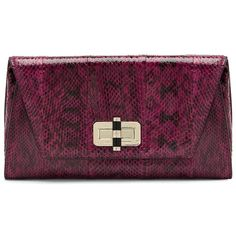 DIANE VON FURSTENBERG 440 Gallery Uptown Snake Clutch ($288) ❤ liked on Polyvore featuring bags, handbags, clutches, cerise, diane von furstenberg handbags, diane von furstenberg, envelope clutch bag, snake handbag and purple handbags