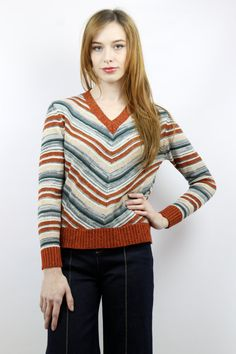 Vintage 70s Rust Chevron Striped Hippie Sweater, fits S/M by shopEBV
