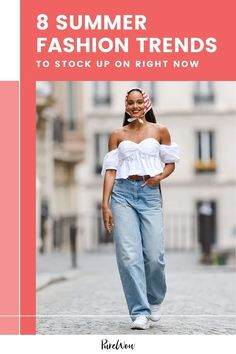 From clogs to corset tops, here are eight trends we can't wait to wear this summer—and wear to buy them. #fashion #summer #trends Summer Fashion Trends, Demin Outfit, Kimora Lee Simmons, Canadian Tuxedo, Malibu Barbie, Oscar Dresses, Denim Trends, Embroidered Jeans, Dress To Impress