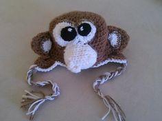 Crochet Monkey Hat by Knotjuststring on Etsy, $30.00
