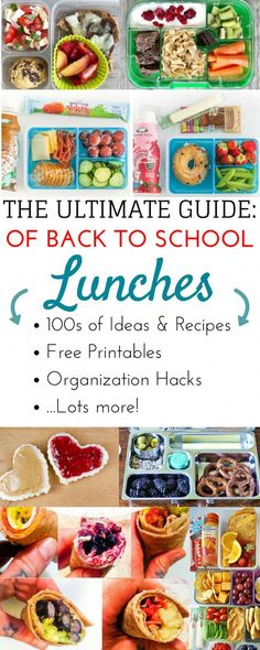 Epic list of over 200 easy bento box style school lunch ideas for kids Healthy make ahead lunch box ideas for teens through kindergarten This list of ideas tips and hacks. Packing School Lunches, Healthy School Lunches, Make Ahead Lunches, Kid Lunches, Picnic Lunches, Healthy Kids, Healthy Snacks, Healthy Recipes For Kids, Kindergarten Lunch