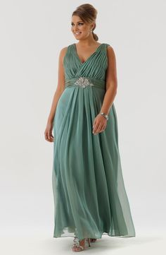 e9b15312e66 2015 Plus Size Evening Dress Chiffon Cheap Deep V-Neck Prom Party Formal  Dresses Gown Long Elegant Ruched Mint Green With Beaded Belt