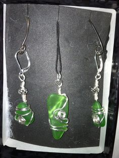 Green Sea glass earring and pendant  (I made these  :) )