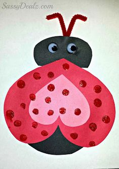 heart ladybug valentines day card