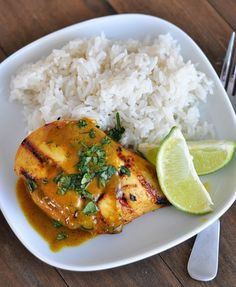 Grilled Lime Coconut Chicken with Coconut Rice - YUM!  A friend of mine has tried this and thinks it is the best recipe ever.  Excited to try it!