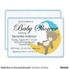 Teddy Bear on Crescent Moon Baby Shower Card - A sweet baby shower invitation for a baby boy shower featuring a cute teddy bear resting on a crescent moon and bordered with a blue frame. Sold at Oasis_Landing on Zazzle.