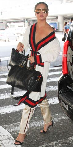Celebrity-Inspired Outfits to Wear on a Plane - Chrissy Teigen from InStyle.com