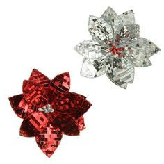 """RAZ Clip-On Sequinned Red Silver Poinsettia Set of 2  Set includes one of each style Made of Plastic Measures 7.5"""""""