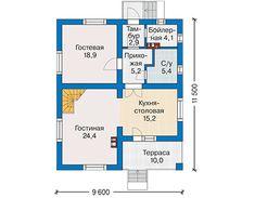 Проект коттеджа из пеноблока 59-77 :: Интернет-магазин Plans.ru :: Готовые проекты коттеджей Floor Plans, How To Plan, Projects, House, Log Projects, Blue Prints, Home, Homes, Floor Plan Drawing