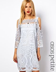 Image 1 ofASOS PETITE Exclusive Shift Dress With Cutwork Detail