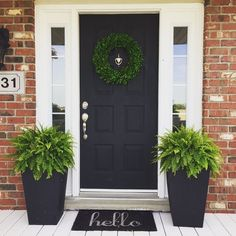 53 Best Spring Front Porch Decorating Ideas – Decorating Ideas - Home Decor Ideas and Tips - Page 46 Front Door Planters, Front Door Porch, House Front Door, House With Porch, Front Door Decor, Front Porch Decorations, Fromt Porch Decor, Fromt Porch Ideas, Front Porch Flowers