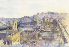 A Castle View by Roy Francis Kirton  The impressive landscape of Newcastle upon Tyne  and the Quayside with the High Level, Swing, Tyne and Millennium Bridges  Signed limited edition mounted print