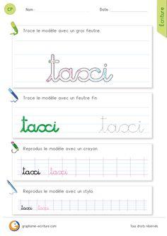 Exercice pour apprendre à Écrire le mot taxi en minuscules cursives - x comme dans taxi.