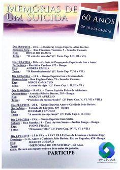 29º CEU A/B Convida para a Comemoração dos 60 Anos da Obra Memórias de um Suicida - RJ - http://www.agendaespiritabrasil.com.br/2016/04/18/29o-ceu-ab-convida-para-comemoracao-dos-60-anos-da-obra-memorias-de-um-suicida-rj/