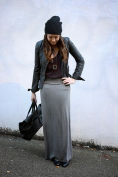 Leather Jacket with a gray maxi skirt and leopard flats. // Kenzie ...