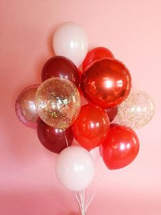 Big Balloon Bouquet Red and Pink Balloons Confetti Bouquet de grand ballon Confettis de ballons roug 30th Birthday Balloons, Red Birthday Party, Valentines Balloons, 21st Birthday, Free Birthday, Surprise Birthday, Big Balloons, Red Balloon, Balloon Bouquet