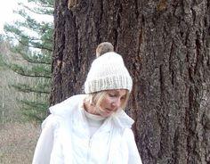 Knit Slouchy Alpaca Hat with Fur Pom Pom  in  Cream