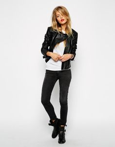 ASOS | ASOS Leather Asymmetric Mixed Quilted Biker at ASOS