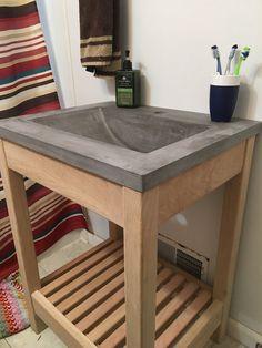 23 Ideas For Bathroom Vanity Top Ideas Sinks Concrete Counter Concrete Sink, Concrete Bathroom, Concrete Kitchen, Concrete Furniture, Diy Concrete Vanity Top, Diy Concrete Countertops, Home Interior, Interior Design, Kitchen Countertop Materials
