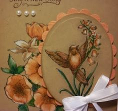 close up of card using colored pencils on kraft...beautiful!!!