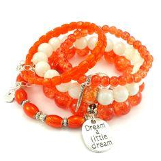 Bransoletka koraliki szklane pomarańczowa charms sentencja