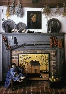 American Country Decorating ♥Vintage Out Of Print♥Country Book Love the fire board…pewter, rifle, dried herbs, doll and chair plus period Decor, Primitive Decorating Country, Primitive Fireplace, Colonial Decor, Faux Fireplace, Fireplace Decor, Country Style Homes, Hearth And Home, Country House Decor