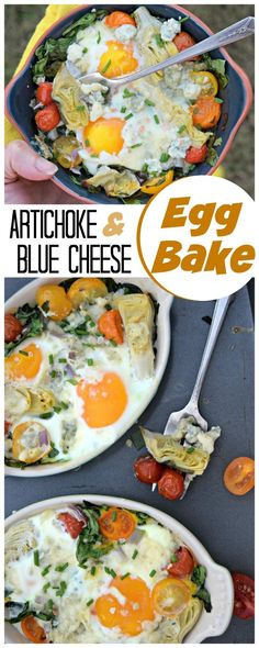 Artichoke and Blue Cheese Egg Bake makes a beautiful an bold recipe for breakfast, brunch or a light dinner. Perfect for holiday entertaining, make ahead night before and bake in morning! Best Egg Recipes, Healthy Egg Recipes, Healthy Low Calorie Meals, Brunch Recipes, Savoury Recipes, Favorite Recipes, Baked Cheese, Baked Eggs, Blue Cheese Salad