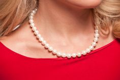White pearls with red make a great holiday combo!