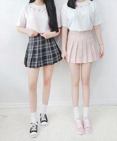 Cute Fashion, Skirt Fashion, Vintage Fashion, Fashion Outfits, Womens Fashion, Fasion, Cute Skirts, Plaid Skirts, Mini Skirts