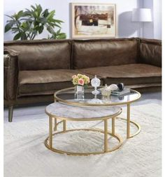 ACME Furniture Acme Shanish Pack Coffee Table Set in Faux Marble and Gold Round Coffee Table Sets, Small Coffee Table, Coffe Table, Small Tables, Large Table, Gold Glass Coffee Table, Nesting Coffee Table, Gold Nesting Tables, Faux Marble Coffee Table