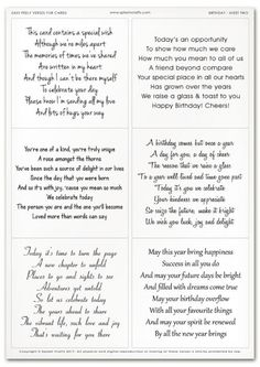 Easy Peely Verses for Cards - Birthday Sheet 2