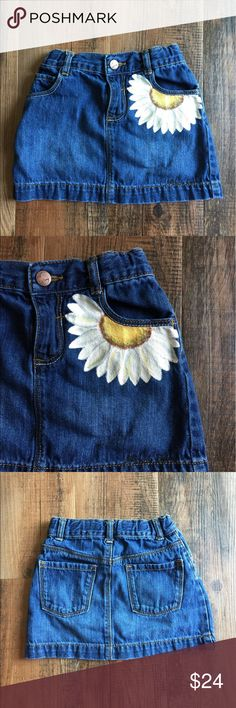 Old Navy Denim Skirt with Hand Painted Daisy Old Navy denim skirt with hand painted White Daisy. Machine wash and dry inside out. Unique, one of a kind, hand painted item. Old Navy Bottoms Skirts Painted Shorts, Painted Jeans, Painted Clothes, Hand Painted, Painted Denim Jacket, Denim Fashion, Skirt Fashion, Fashion Art, Diy Jeans