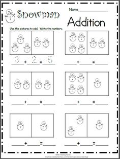 Free printable addition worksheet for Kindergarten math.  Count the snowmen and write the numbers.  Add them together and write the sum.