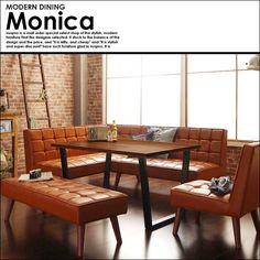 ブルックリンスタイルソファダイニングセット Monica【モニカ】 Kitchen Dining, Dining Bench, Dining Room, Japanese Interior, Home Reno, Breakfast Nook, Great Rooms, Small Spaces, Table Settings