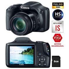 """Câmera Digital Canon Powershot SX520HS Preta – 16.0MP, LCD 3,0"""", Zoom Ótico 42x, Lente Grande Angular de 24mm e Vídeo Full HD + Cartão de 8GB"""