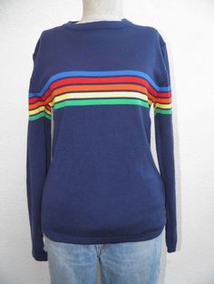OSSI SkiWear Navy Blue & Colorful Stripes WOOL Blend VTG '80's SWEATER Sz S/M in Clothing, Shoes & Accessories, Women's Clothing, Sweaters | eBay
