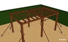 Overkapping maken dak dwarsbalken