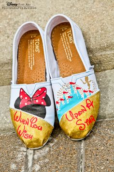 """When you wish upon a star"" custom Disney-inspired TOMS shoes #Disney #wedding #TOMS"