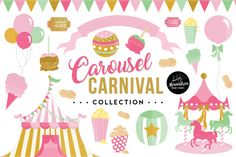 Carousel Carnival Graphics & Patterns Bundle By Absolutely Alexandria