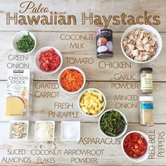 Here's a dairy-free, gluten-free option for Hawaiian Haystacks. This is great for guests, because they can customize their own serving. Dairy Free Recipes, Paleo Recipes, Whole Food Recipes, Gluten Free, Quick Dinner Recipes, Clean Recipes, Hawaiian Haystacks, Hawaiian Haystack Recipe, Hawaiian Recipes