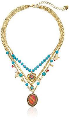 "Betsey Johnson ""Turqs and Caicos"" Semiprecious Turquoise Bead Multi-Charm Necklace, 14''+3'' Extender Betsey Johnson http://www.amazon.com/dp/B00R29ZC32/ref=cm_sw_r_pi_dp_kjvpvb16W5NGN"